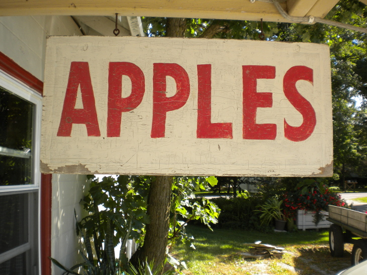 Our vintage, 1950's apple sign welcoming you to the 2017 Apple Season at Hafs Road Orchard.